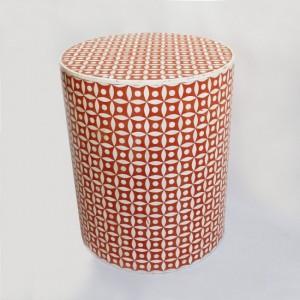 Maaya Bone Inlay Round Drum Side Table Red Geometric