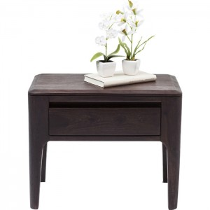 Boston Taper Contemporary Solid Wood 1 Drawer Bedside Side Table Walnut