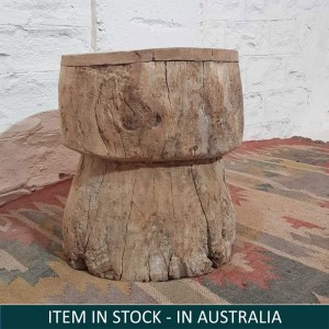 Vintage Indian Solid Wooden Round Stool Natural B