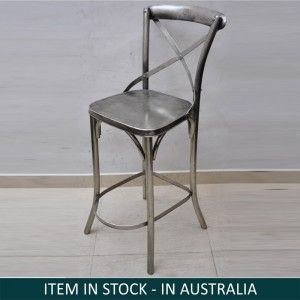 Industrial Metal Iron Silver Bar Chair