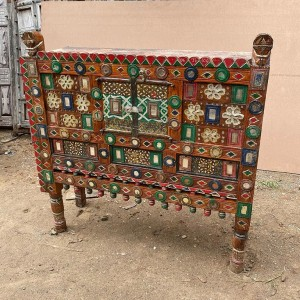 Indian Antique Tribal Hand Carved Art Wooden Damchiya Multicolor I