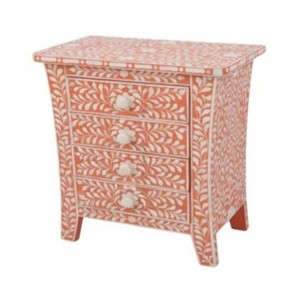 Maaya Bone inlay Pink Floral 4 drawer bedside lamp table
