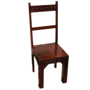 Rustic Solid Wood Handcrafted School Back Dining Chair Chocolate Brown