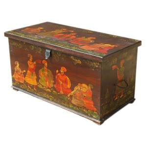 Mughal Hand Painted Indian Solid Wood Storage Trunk Box Coffee Table