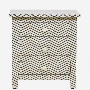 Maaya Bone Inlay Bedside Cabinet Table Black ZigZag