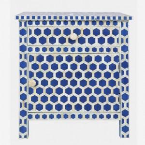 Maaya Bone Inlay Bedside Cabinet Table Blue Geometric