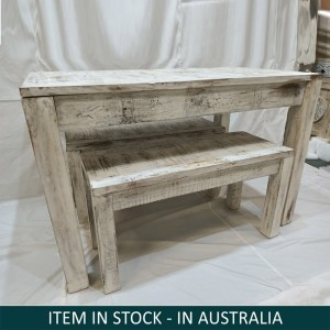 Nirvana Reclaimed Boat wood 1.6m Medium dining bench setting 6 seater Greywash