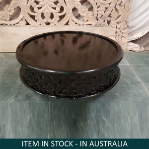 Bristol Indian Hand Carved Round Coffee Table Black