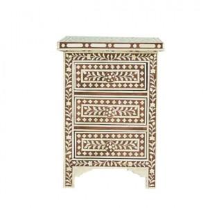 Maaya Bone Inlay Bedside Cabinet Table Brown Floral