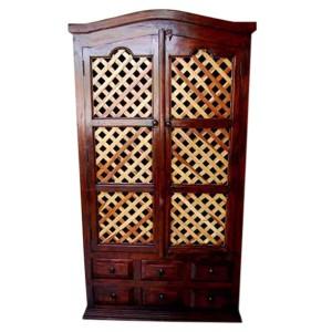 Boston Indian Solid Wood Freestanding Lattice Door Cabinet Closet w 6 Drawers