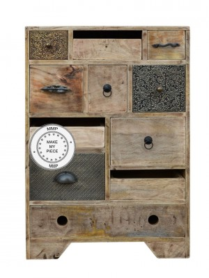 Solid Industrial Wood Chest Of Drawers