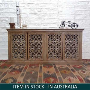 Jali Hand Carved Indian Solid Wood Buffet Cabinet Sideboard