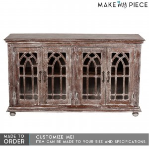 French style Arched Glass Door Sideboard Whitewash