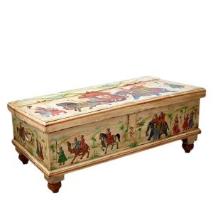 Mughal Hand Painted Indian Solid Wood Storage Trunk Box Coffee Table White