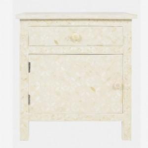 Maaya Bone Inlay Bedside Cabinet Table White Geometric