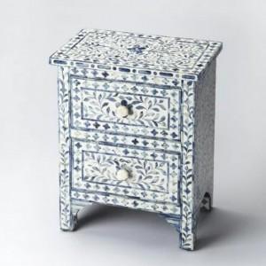 Maaya Bone Inlay Bedside Cabinet Table Blue Floral