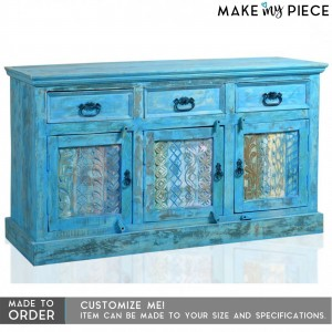 Reclaimed Timber Carved Panel Sideboard Rustic Blue