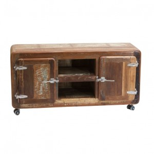 Cromer Retro style Reclaimed Wood TV Stand Entertainment Unit on wheels 1.35m