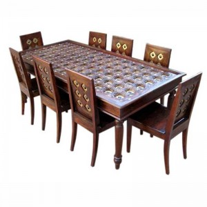 Mogra Antique Brass Work Brass Fitted Dining Table Set