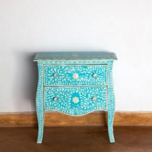 Maaya Bone Inlay Bedside cabinet Lamp table Blue Floral