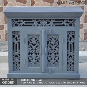Jali Carved Indian french Sideboard GREY