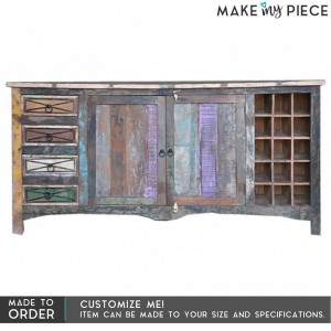 RUSTICA Reclaimed boat wood Sideboard Wine rack LARGE
