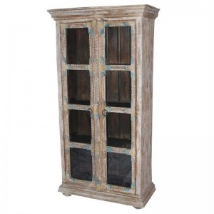 Embossed Antique Brass work Fitted Mango Wood Almirah With 4 Shelves