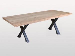 Industrial Indian Solid Wood Docks Metal Base Tao Dinning Table