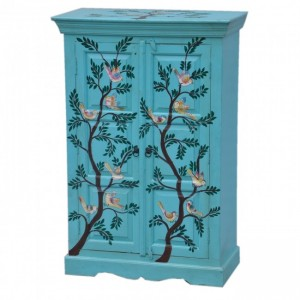 Pandora Hand Painted Cabinet Blue Birds Floral