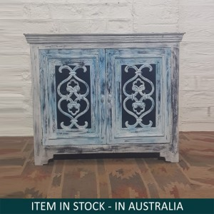 Indian Antiques Hand Carved Two Door Cabinet Sideboard Turquoise