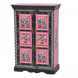 Pandora Hand Painted Cabinet Black Pink Floral