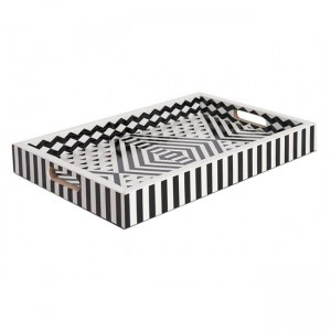 Maaya Bone Inlay Serving Tray - Geometric Pattern Black  49x39x5cm