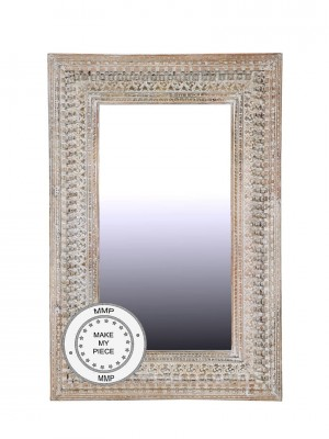 Indian Hand Carved Large Oriental Mirror White 100x150 cm