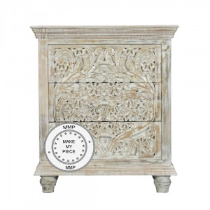 Indian Hand Carved Chest of drawers 80x40x90 cm White