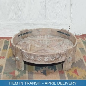 Indian Tribal Hand Carved Solid Wood Chakki Coffee Table Star Whitewash 75x75x25