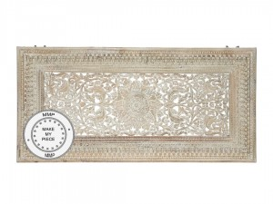 Indian Hand Carved decorative Panel Headboard XL White