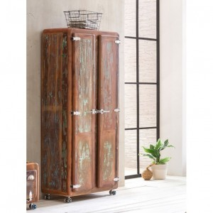 Cromer Retro style Reclaimed Wood Wardrobe 1.8m on wheels - Natural