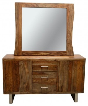 Cromer Indian Solid Wood Dresser With Mirror  W 110 x H 100 Cm