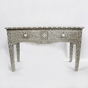 MAAYA Bone Inlay wooden 2 Drawers Hall Side Table Grey Floral