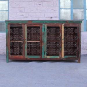 Reclaimed wood Metal Curly Jali Sideboard