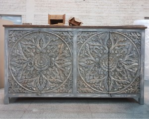 Dynasty French Hand carved Doors Buffet Large Sideboard Grey rustic 195x45x110cm