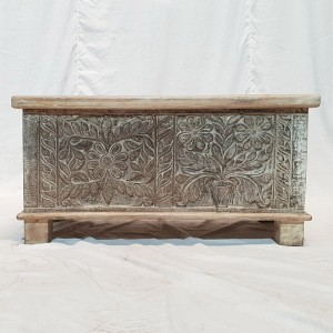 Solid wood Carved chest storage blanket box coffee table chest 85X40X43cm