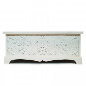 Solid wood Carved chest storage blanket box coffee table chest WHITE  115X46X47cm