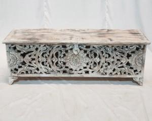 Dynasty French Hand carved Blanket Box Whitewash rustic 140x43x50cm