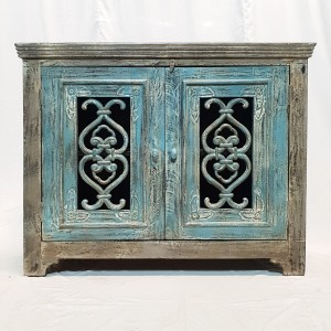 Indian Antiques Hand carved two Door Cabinet Sideboard Turquoise 117x48x92cm
