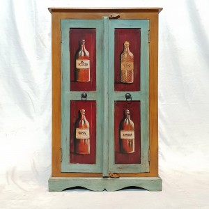 Hand Painted Colourful Almira cupboard Bar Cabinet Wine Rack 65x44x105cm