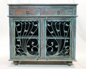 Indian Metal Jali carved small buffet sideboard vanity 100x45x90cm