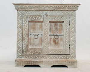 Antique Indian old door carved Cabinet Sideboard console White rustic 95x45x95cm