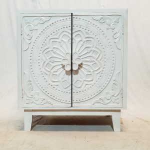 Dynasty French Hand carved Doors Buffet Cabinet Sideboard White 81x46x92cm