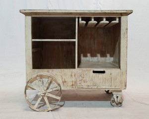 French style shabby Home Bar Drinks cabinet WHITE Cart Design wine rack winerack